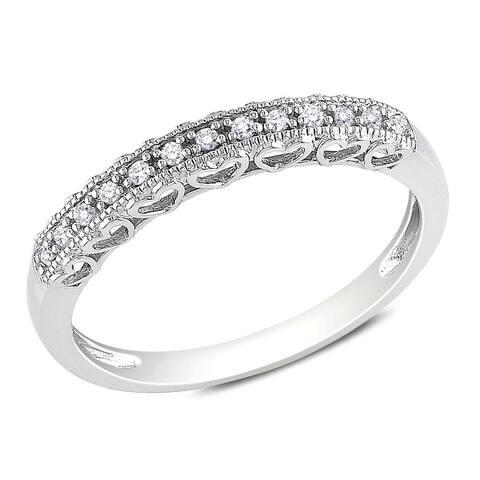Miadora 10k White Gold Diamond Accent Anniversary Heart Ring
