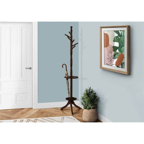Offex Cappuccino Solid Wood Coat Rack with an Umbrella Holder