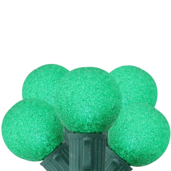 Set of 10 Battery Operated Sugared Green LED G30 Christmas Lights - Green Wire