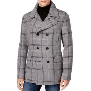 Michael Kors NEW Gray Mens Size Small S Wool Blend Plaid Peacoat