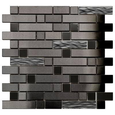 Eden Mosaic Tile: Black Stainless Black Wave Glass Tile 11.8x11.8 (11 tiles/10.63 Sqft)