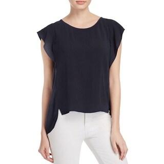 Velvet Womens Cyndee T-Shirt Back Slit Cap Sleeves