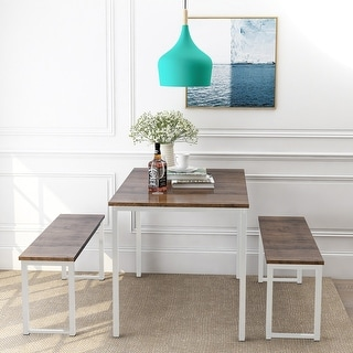3-Piece Dining Table Set Kitchen Table with Two Benches