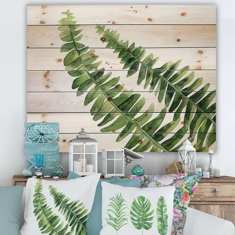 Designart 'Fern Leaves Detail I' Farmhouse Print on Natural Pine Wood
