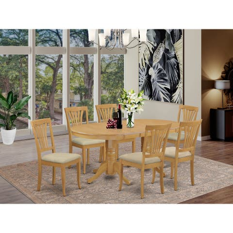 7 Pc Dining Room Set - Oval Table with Leaf and 6 dining room chairs in Oka Finish
