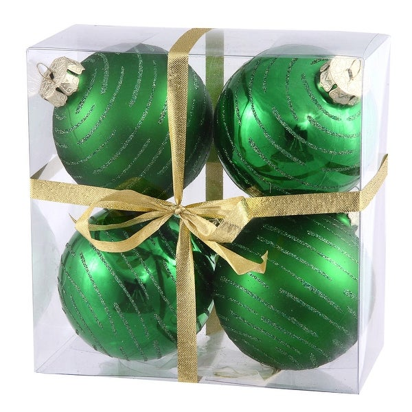 "3"" Green Ball w/Glitter Asst 4/Box"