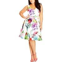 City Chic Womens Plus Casual Dress Floral Print Box Pleat