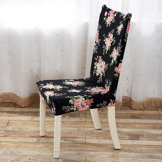 Unique Bargains Black Household Removable Stretch Elastic Dining Chair Cover