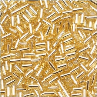 Link to Toho Bugle Tube Beads Size 1 / 2x3mm Silver Lined Lt Topaz 8 Grams Similar Items in Jewelry & Beading