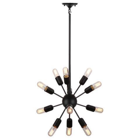 "Safavieh Lighting Raging 12-light Black Edison Bulb Solace Pendant - 17.5""x17.5""x37"""