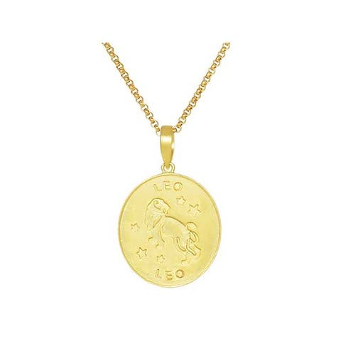 14K Gold Plated Sterling Silver Leo Oval Pendant Necklace