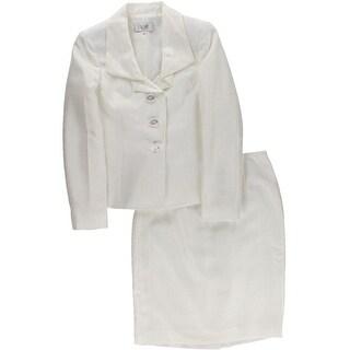 Le Suit Womens Petites Skirt Suit Shimmer 2PC