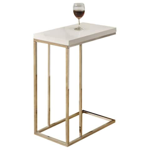 Offex Glossy White Hollow-Core / Chrome Metal Accent Table