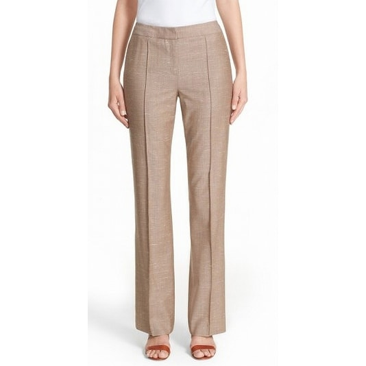 Lafayette 148 NEW Beige Womens Size 14 Seamed Dual-Pocket Dress Pants