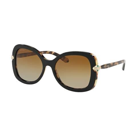 Bvlgari BV8202B 5443T5 54 Top Black On Blonde Havana Woman Butterfly Sunglasses