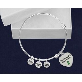 Mental Health Awareness Stainless Steel Retractable Charm Bracelet