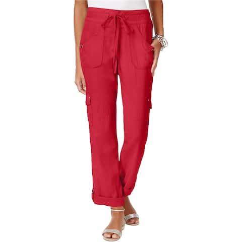 I-N-C Womens Roll Tab Casual Cargo Pants, red, 8 Regular