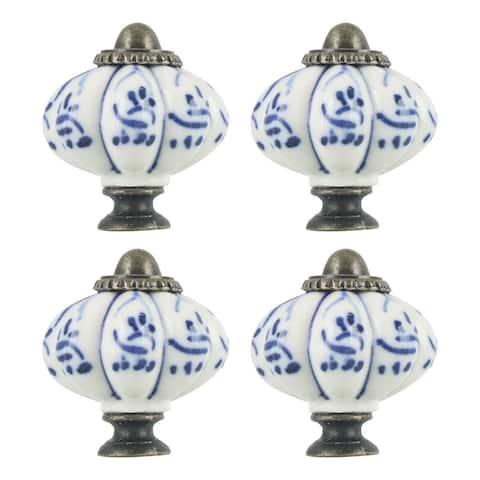 4pcs Ceramic Knobs Vintage Knob Drawer Round Pull Handle Furniture Cupboard Wardrobe Dresser Door Decorative, Blue