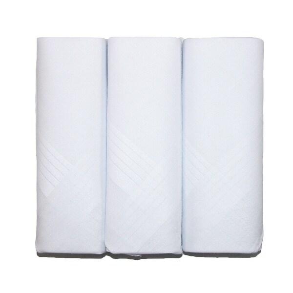 CTM® Men's Cotton Handkerchiefs (Pack of 3) - White - One size
