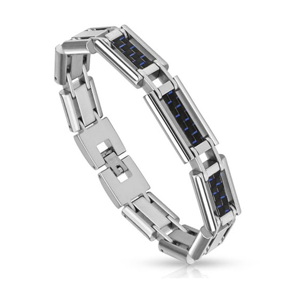 Three Blue and Black Carbon Fiber Inlay Links Stainless Steel Bracelet (13 mm) - 8.25 in