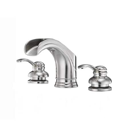 Vibrantbath Waterfall 8-16 Inch 3 Holes 2 Handles Widespread Bathroom Faucet