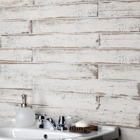 SomerTile 2.75x23.5-inch Lambris Blanc Porcelain Floor and Wall Tile