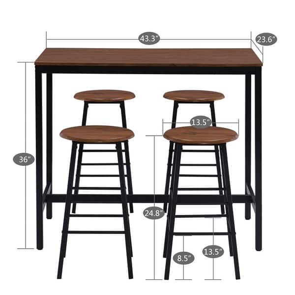 Industrial Breakfast Bar Table Set Kitchen Counter With 4 Round Stools Overstock 32172556