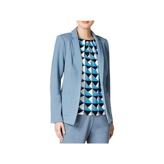 Calvin Klein Womens Petites Blazer Notch Collar Open Front