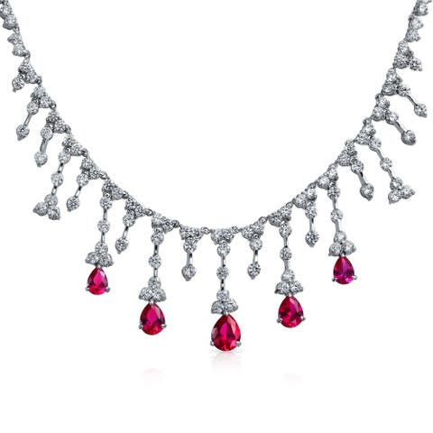Bridal Red CZ Tear Dangle Imitation Ruby Statement Necklace Silver
