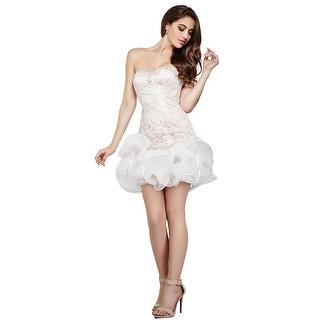 Jovani Lace Strapless Semi-Formal Dress