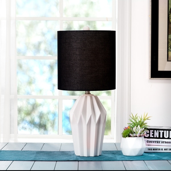 Glitzhome Matte Ceramic Table Lamp w/linen shade. Opens flyout.