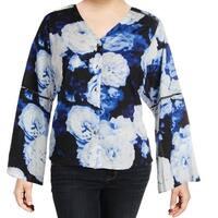 Calvin Klein Blue Women's Size 3X Plus Floral Button Up Shirt