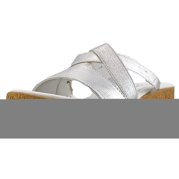 Athena Alexander Brodye Women Open Toe Synthetic Silver Slides Sandal