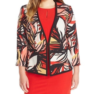 Kasper NEW Red Printed Women's Size 20W Plus Collarless Career Jacket