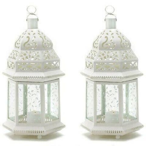Set of 2 White Moroccan Lanterns with Etched Panels