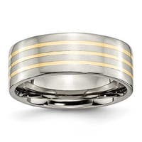 Chisel 14k Gold Inlaid Flat Polished Titanium Ring (8.0 mm) - Sizes 6-13