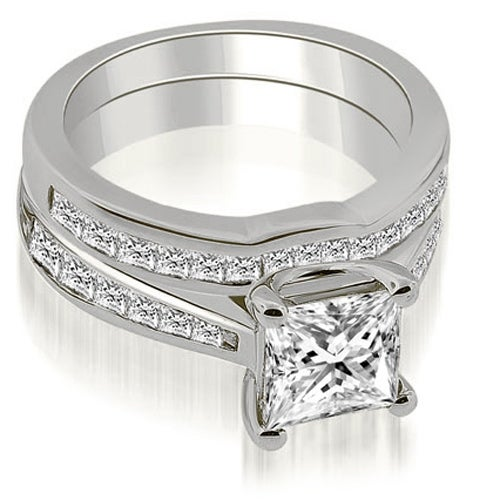 2.00 cttw. 14K White Gold Cathedral Channel Set Princess Diamond Bridal Set