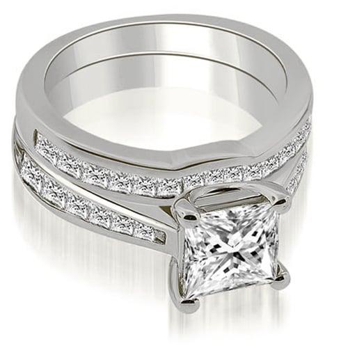 2.25 cttw. 14K White Gold Cathedral Channel Set Princess Diamond Bridal Set