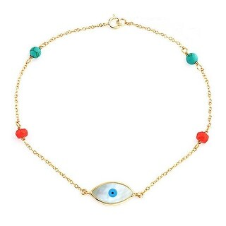 Bling Jewelry MOP Evil Eye Gold Plated Reconstituted Turquoise Bead Bracelet