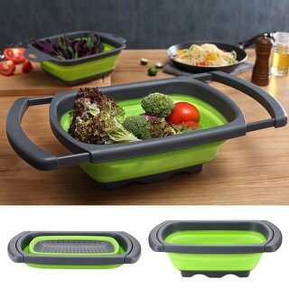 HK Over the Sink Collapsible Colander 6-quart Capacity Kitchen Food Strainer w/ Extendable Handles BPA Free