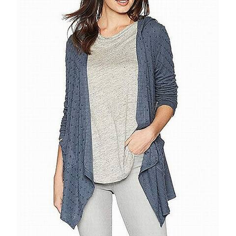 Miss Me Womens Sweater Blue Size Medium M Cardigan Open Front Hooded