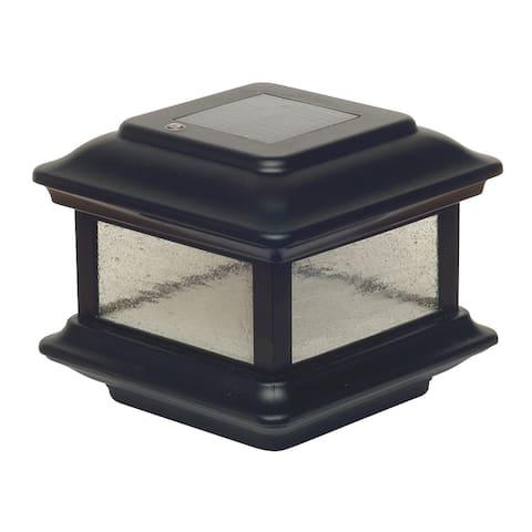 "Classy Caps SLO88 Colonial 6"" Wide LED Solar Post Cap Light that fits - Black"