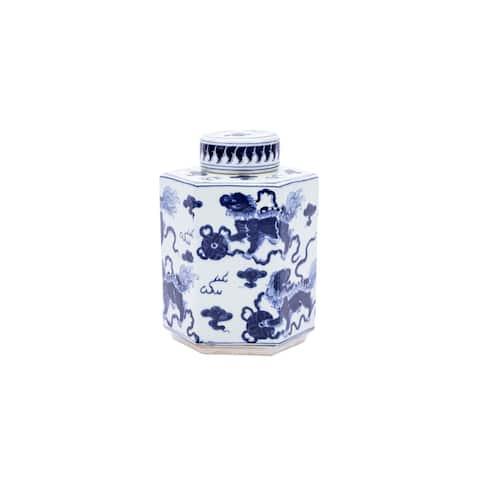 Handmade Lion Hexagonal Tea Decorative Jar