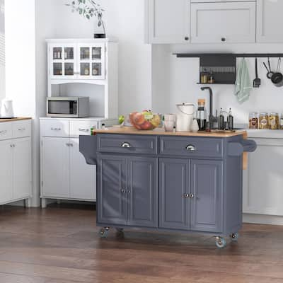 HOMCOM Rolling Kitchen Island on Wheels Ultility Cart with Drop-Leaf and Rubber Wood Countertop, Storage Drawer, Door Cabinet