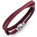 Chisel Stainless Steel Polished Purple Leather Wrap Bracelet - Thumbnail 0