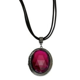 Black IP Purple Stone w/Black Cord 30in Necklace - 30in