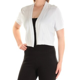 CALVIN KLEIN $50 Womens New 1289 White Floral Short Sleeve Sweater XL B+B