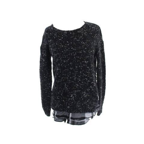 Kensie Black Long-Sleeve Nep-Knit Layered-Look Sweater XS
