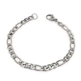 Loralyn Designs Stainless Steel Figaro Bracelet Italian Link (7-9 Inch)