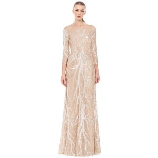 David Meister Embroidered Sequin 3/4 Sleeve Evening Ball Gown Dress